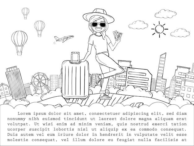 Karikaturreisender der frau des gekritzelhandabgehobenen betrages netter mit gepäckreise um das weltkonzept. hand zeichnen,