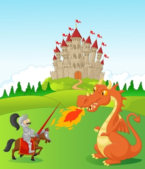 Karikaturritter mit heftigem Drachen