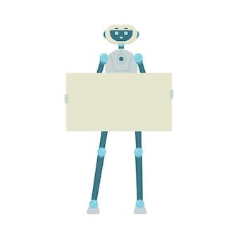 Karikaturroboter, der leeres schild hält und lokalisiert auf weißer oberfläche lächelt