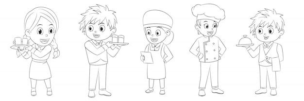Karikatursammlung junge und mädchen, die im restaurant für malbücher arbeiten
