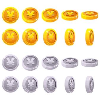 Karikatursatz des 3d-metall-yen-münz-yuan-symbols, chinesisches geld, vektoranimationsspielrotation