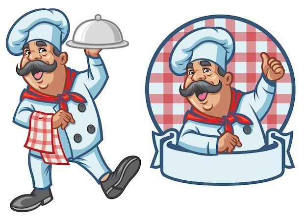Karikatursatz des glücklichen kochs