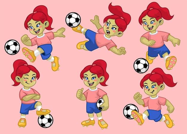 Karikatursatz des netten mädchens des fußballspielers