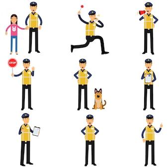 Karikatursatz des straßenpolizisten in verschiedenen situationen stehend mit diensthund, laufend, stoppschild zeigend