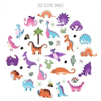 Karikatursatz dinosaurier im skandinavischen stil