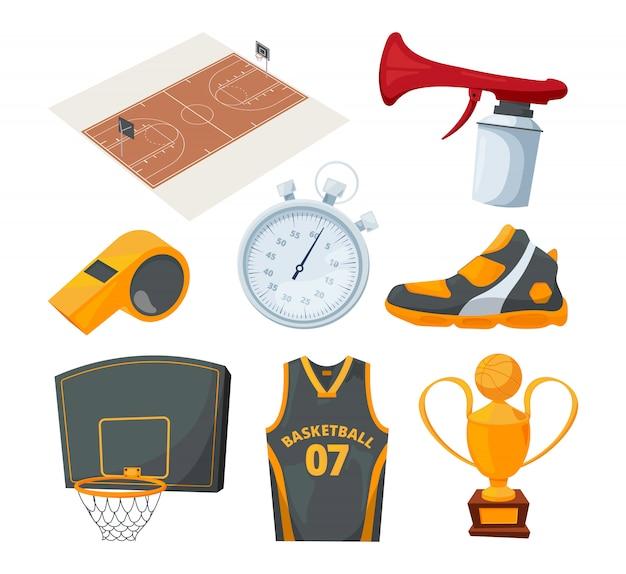 Karikatursatz verschiedene basketballelemente