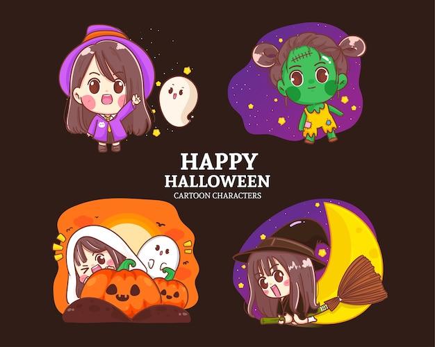 Karikatursatzillustration der niedlichen sammlung halloween-charakter