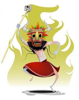 Karikaturschamane, der maiking magierritual tanzt