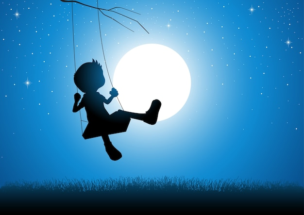 Karikaturschattenbild eines jungen, der auf einem schwingen spielt