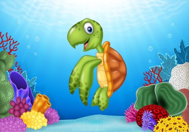 Karikaturschildkröte mit schöner unterwasserwelt