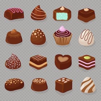 Karikaturschokoladennachtische und -süßigkeiten lokalisiert