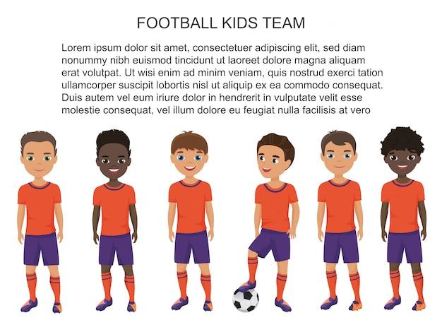 Karikaturschule fußballfußball-kindermannschaft in uniform isoliert.