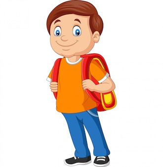 Karikaturschuljunge mit einem rucksack