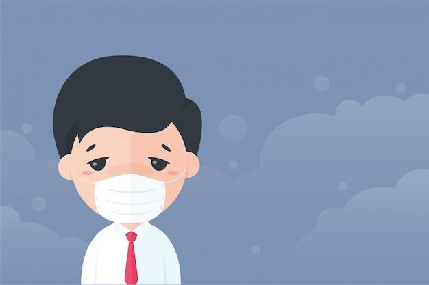 Karikatursekretär, der eine maske trägt, um sich gegen staub pm2.5 vor luftverschmutzung zu schützen.