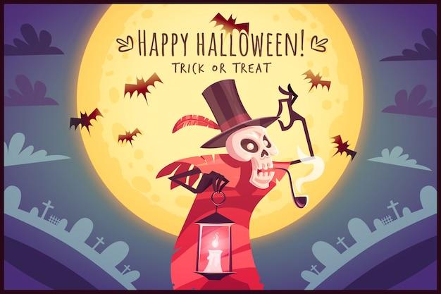 Karikaturskelettschädel-hutmacher mit lampe auf vollmondhimmelhintergrund happy halloween-poster süßes oder saures grußkartenillustration