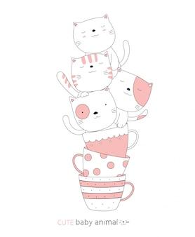 Karikaturskizze das niedliche katzenbabytier mit einer tasse. handgezeichneter stil.