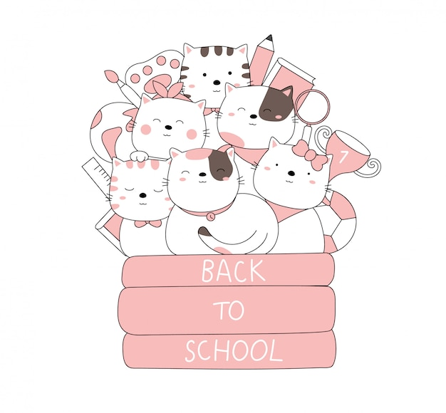 Karikaturskizze das niedliche katzenbabytier zurück zur schule. handgezeichneter stil.