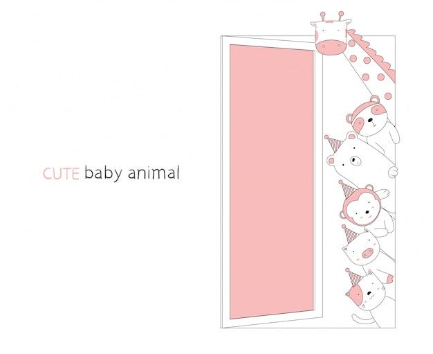 Karikaturskizze das niedliche tierbaby an der tür. handgezeichneter stil.