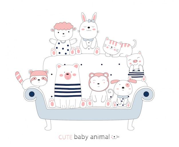 Karikaturskizze das niedliche tierbaby auf einem blauen stuhl. handgezeichneter stil.