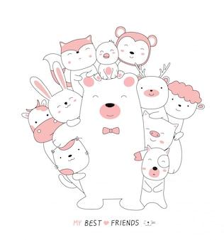 Karikaturskizze die niedlichen bärenbabys mit freunden. hand gezeichneter stil.