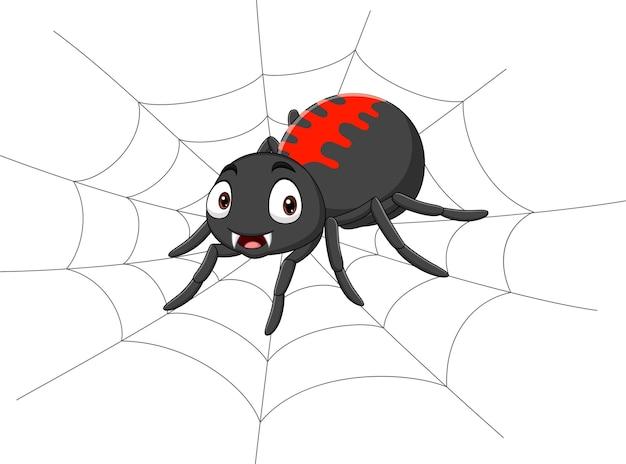 Karikaturspinne auf dem spinnennetz