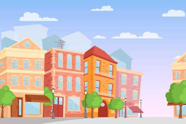 Karikaturstadt in hellen farben, tageszeit, niedliche stadtstraße mit bunten häusern im flachen stil.