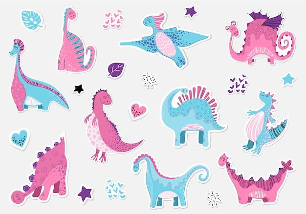Karikatursticers von dinosauriern im skandinavischen stil