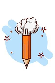 Karikaturstiftillustration mit rauch