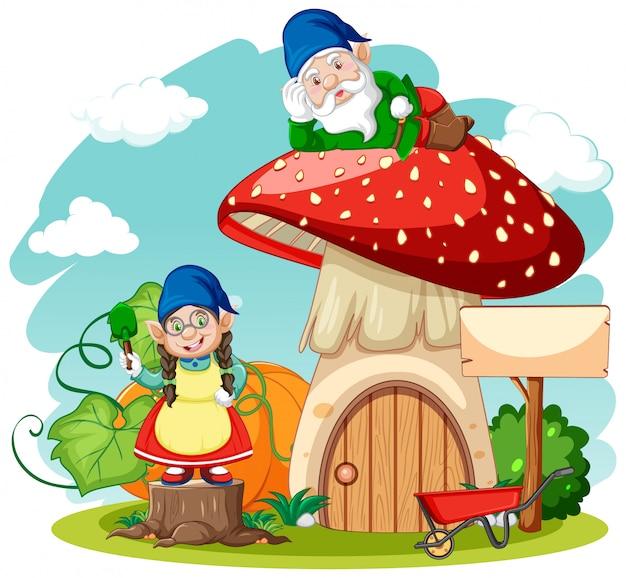Karikaturstil der gnome und des pilzhauses auf weißem hintergrund