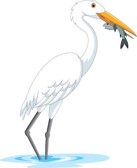 Karikaturstorch, der einen fisch isst