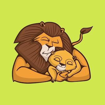 Karikaturtier entwerfen einen schlafenden löwen, der ein niedliches maskottchenlogo des kleinen löwen umarmt