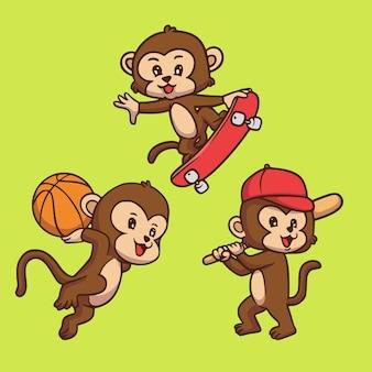 Karikaturtier-entwurfsaffe, der basketball, skateboard und niedliche maskottchenillustration des baseballs spielt