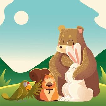 Karikaturtiere tragen kaninchenpapagei und eichhörnchen in der landschaftsillustration