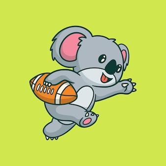 Karikaturtierkoala, der niedliches maskottchenlogo des fußballs spielt