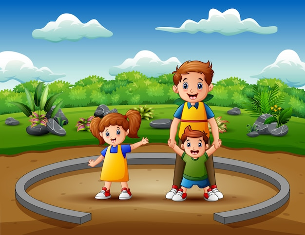 Karikaturvater mit seinen kindern, die zusammen genießen