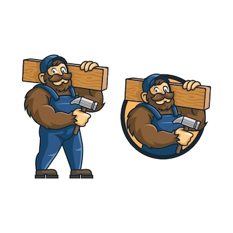 Karikaturvaters affenholzarbeiterillustration. maskottchen.