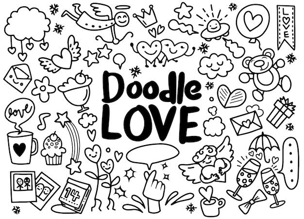 Karikaturvektor hand gezeichnete gekritzel-liebesillustration