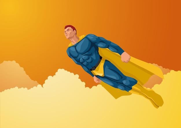 Karikaturvektorillustration eines superhelden, der der sonne entgegenfliegt