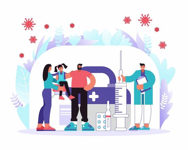 Karikaturvektorillustration von glücklichen eltern mit tochter und männlichem heilpraktiker mit spritze des impfstoffs geschützt von coronavirus-keimen