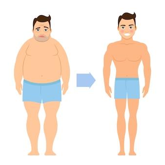 Karikaturvektormann vor und nach gewichtsverlust