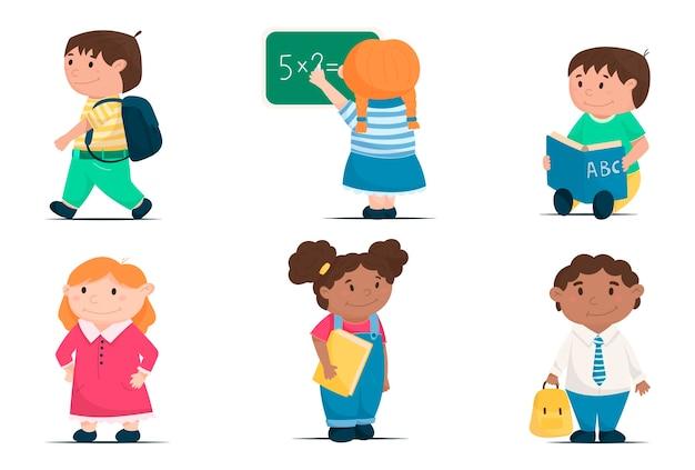 Karikaturvektorsatz der niedlichen kinder, schulkinder, die zurück zur schule gehen.