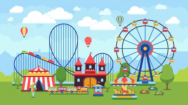 Karikaturvergnügungspark mit zirkus, karussellen und achterbahn vector illustration. zirkuspark- und karussellkarikaturspaß, -unterhaltung und -karneval