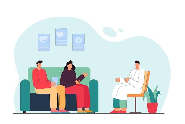 Karikaturverheiratetes paar, das mit doktor kommuniziert. flache abbildung