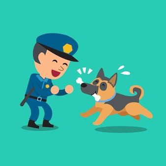 Karikaturwächterpolizist, der mit polizeischutzhund spielt