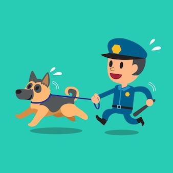 Karikaturwächterpolizist mit polizeischutzhund