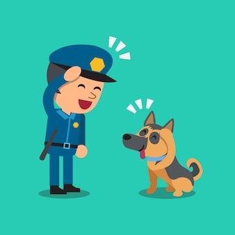 Karikaturwächterpolizist mit seinem wachhund