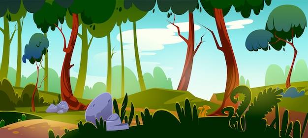 Karikaturwaldhintergrund, naturlandschaft mit laubbäumen, felsen, grünem gras und büschen auf boden. schöne landschaftsansicht, sommer- oder frühlingsholz oder parkfläche mit pflanzen, vektorillustration