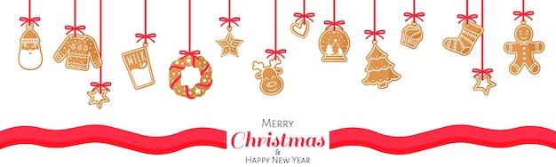 Karikaturweihnachts- oder neujahrsfahne des lebkuchens mit weißem zuckerguss auf einem weißen hintergrund