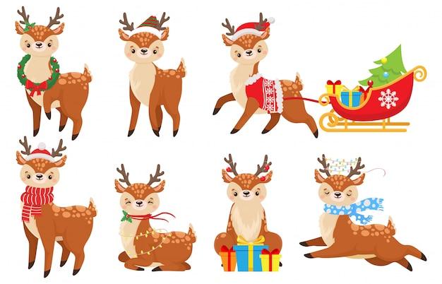 Karikaturweihnachtshirsch. nettes kitz im winterschal, im weihnachtsrentierkind und im lustigen hirschillustrationssatz