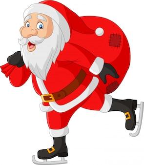 Karikaturweihnachtsmann-schlittschuhläufer, der eine tasche von geschenken trägt